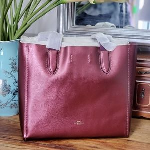 NWT Coach Derby Tote Metallic Wine